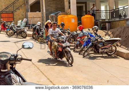 Bali, Indonesia - November 30, 2019: Cheap Variant Of Taxi For Tourists. Road Traffic On Bali. Bali,