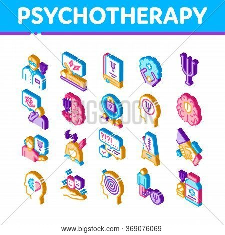 Psychotherapy Help Icons Set Vector. Isometric Handshake And Brain, Psychotherapist And Patient, Psy