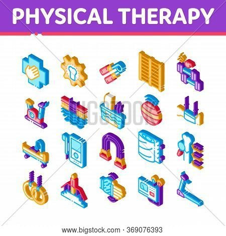 Physical Therapy And Recovery Icons Set Vector. Isometric Treadmill And Exercise Bike, Dumbbells And