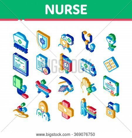 Nurse Medical Aid Icons Set Vector. Isometric Nurse Hat And Stethoscope, Pulse Cardiogram And Patch,