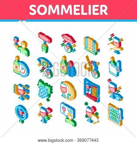 Sommelier Wine Tasting Icons Set Vector. Isometric Sommelier Hold Glass With Alcoholic Drink, Barrel