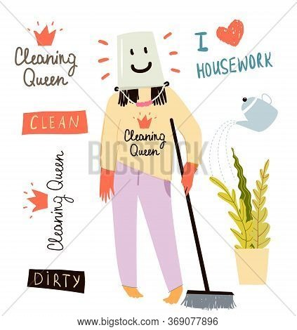 Happy Cleaning Lady Or Housewife Wearing A Bucket On The Head With Happy Smile. Humorous Woman Clean