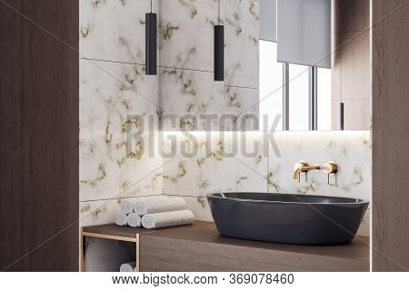 Clean Marble Bathroom Interior With Mirror And Comfortable Bathtub. Style And Hygiene Concept. 3d Re
