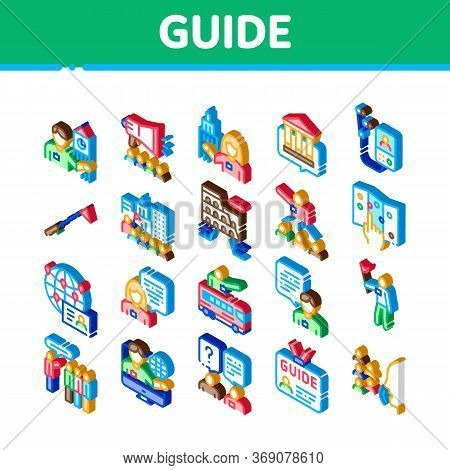 Guide Lead Traveler Icons Set Vector. Isometric Bus And Media Player Guide, Badge And Loudspeaker, S