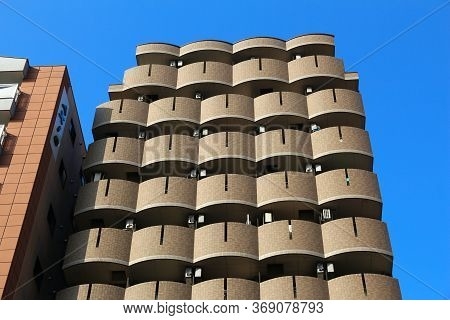 Osaka, Japan - November 22, 2016: Generic Apartment Building In Residential District Of Osaka, Japan
