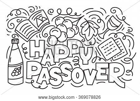 Passover Greeting Card Jewish Holiday Pesach . Hebrew Text Happy Passover. Black And White Vector Il