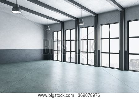 Minimalistic Gallery Interior With Columns And City View. Gallery, Advertisement, Presentation Conce