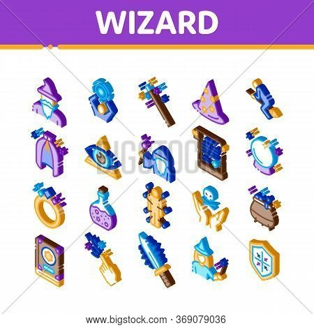 Wizard Magic Equipment Icons Set Vector. Isometric Wizard Wand And Hat, Sphere And Knife, Book And R