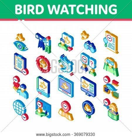 Bird Watching Tourism Icons Set Vector. Isometric Bird Watching Photo Camera And Binocular Equipment