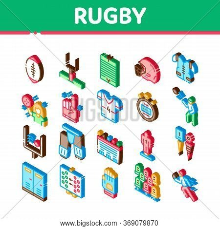 Rugby Sport Game Tool Icons Set Vector Rugby Ball And Gates, Athlete Protection Equipment And Glove,