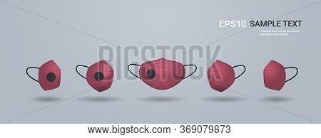 Red Antiviral Medical Face Mask Protection Against Coronavirus Prevention Of Virus Spreading Pandemi
