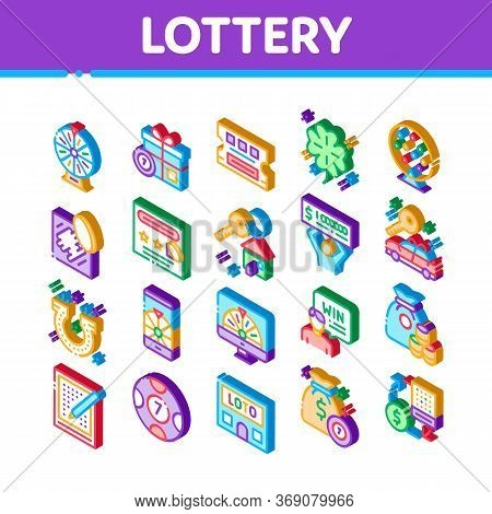 Lottery Gambling Game Icons Set Vector. Isometric Human Win Lottery And Hold Check, Car Key And Mone