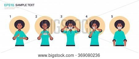 How To Wear Medical Face Mask Covid-19 Protection African American Woman Presenting Step By Step Cor