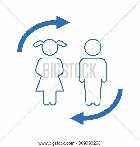 Girl And Boy Vector Sketch Icon Isolated On Background. Hand Drawn Girl And Boy Icon. Girl And Boy S