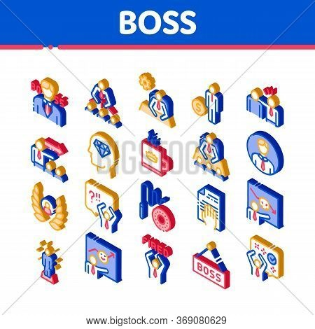 Boss Leader Company Icons Set Vector Thin Line. Boss On Tablet And Cup With Crown, Meeting And Prese