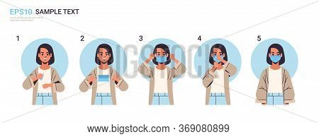 How To Wear Medical Face Mask Covid-19 Protection Woman Presenting Step By Step Correct Method Of We
