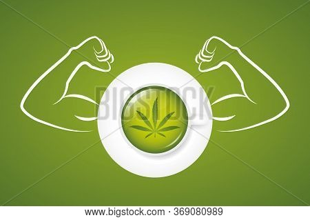 Strong Cannabis Tea With Muscular Arms Vector Illustration Eps10