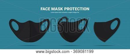 Black Antiviral Medical Respiratory Face Masks Coronavirus Protection Prevention Of Virus Spreading