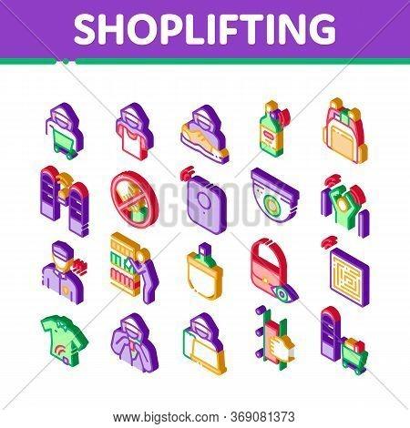 Shoplifting Elements Icons Set Vector Video Camera And Guard Security From Shoplifting, Human Shopli