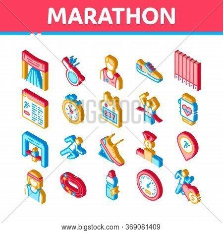 Marathon Elements Icons Set Vector. Isometric Human Athlete Silhouette Running And Uniform, Sport St