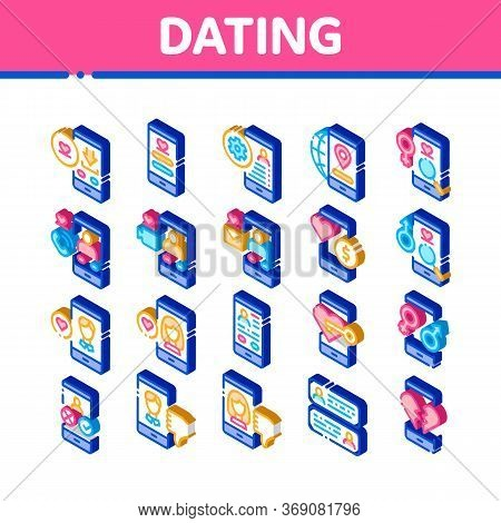Dating App Elements Icons Set Vector. Isometric Smartphone Mobile Dating Love Application . Profile