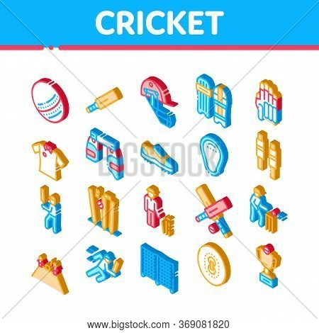 Cricket Game Elements Icons Set Vector. Isometric Cricket Ball And Bat, T-shirt And Spike Sneakers,