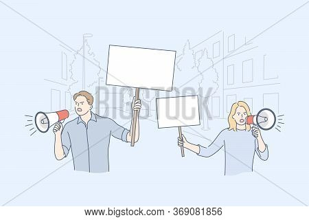 Activism, Protest, Demonstration Concept. Young Man And Woman Boy And Girl Activists Take Part Polit