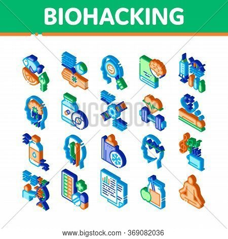 Biohacking Elements Icons Set Vector. Isometric Meditation And Brain, Dna And Helix, Genetic And Dru