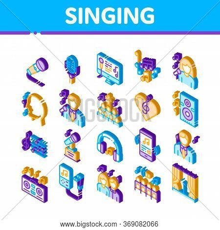 Singing Song Elements Vector Icons Set. Isometric Singer And Musical Notes, Microphone And Headphone