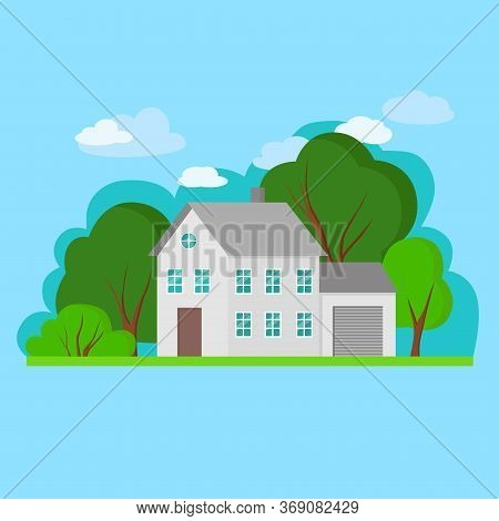 Simple Gray Flat Gray House With Green Trees And Blu Sky. Vector Illustration Of Cityscape.cottage,
