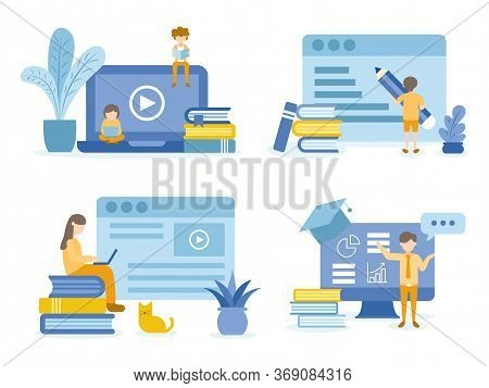 Student Reading And Learning Online Courses. Man Training Online Courses. Concept Illustration Of Ed