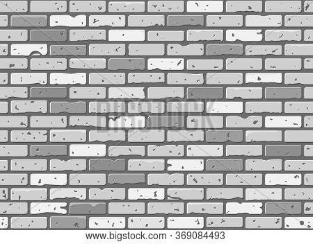 Seamless Grunge Brick Wall Texture. Realistic Gray Brickwall Background. Pattern For Design. Vector