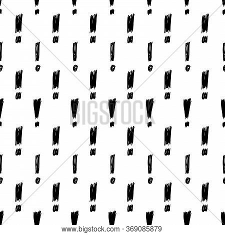 Seamless Pattern With Hand Drawn Exclamation Mark Symbol. Black Sketch Exclamation Mark Symbol On Wh