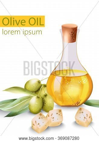 Carafe Filled With Olive Oil Surrounded By Cheese And Olives, With Place For Text