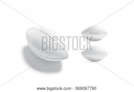 Blank White American Soccer Ball Mockup, Different Views, 3d Rendering. Empty Football League Oval B