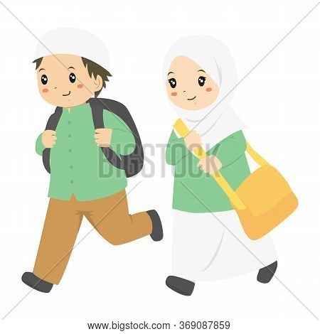 Muslim Boy And Girl Running To School. Muslim Students Vector Characters.