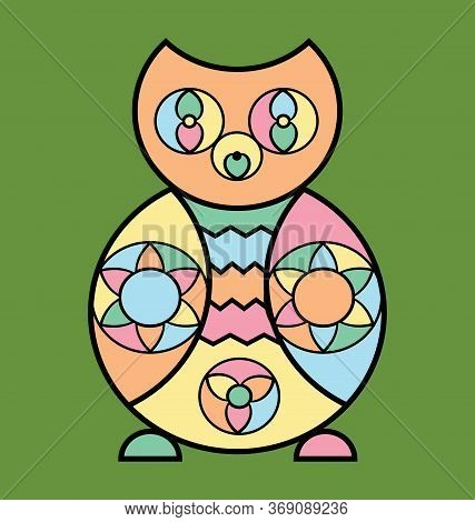Colored Background Image Of The Abstract Owl