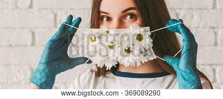 Banner Young Woman Doctor In Medical Gloves Wear Or Take Off Protective Face Mask With Flowers. Beau