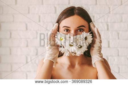 Portrait Young Beautiful Girl Fashion Model In Protective Gloves Wearing Medical Face Mask With Flow