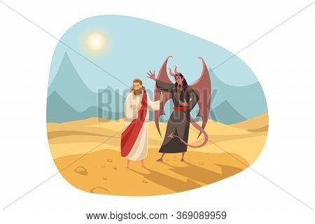 Christianity, Religion, Bible Concept. New Testament Biblical Religious Series Illustration. Temptat