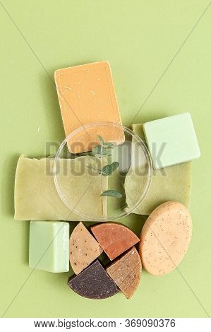 Natural  Soap And  Eucalyptus On A Green Background. Vertical Format. Organic