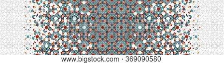 Arabesque Wallpaper Border. Mosaic Seamless Vector Pattern. Geometric Arabesque Halftone Pattern Wit