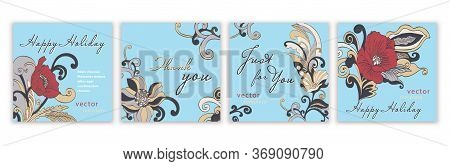 Set Of Templates Greeting Cards, Banners, Covers, Posters, Anniversary, Invitations, Flyer With Colo