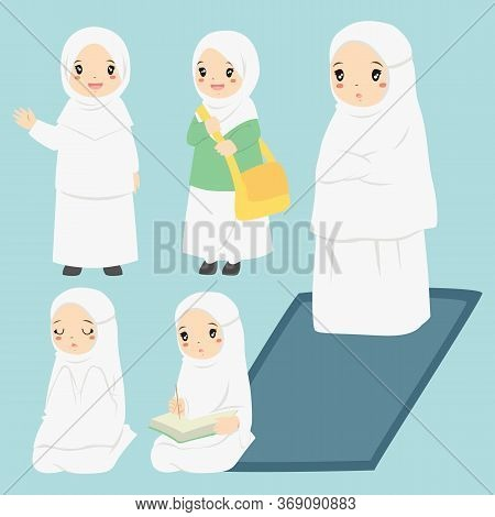 Vector Collection Of A Muslim Girl Doing Her Daily Activities. Muslim Girl Reading Quran, Praying, A