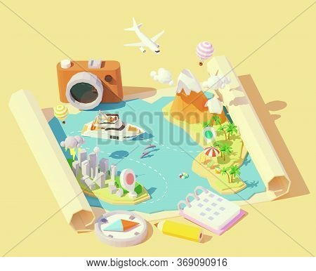 Vector Isometric Summer Travel And Vacation Illustration. Summer Travel Map. Escape From City To Tro