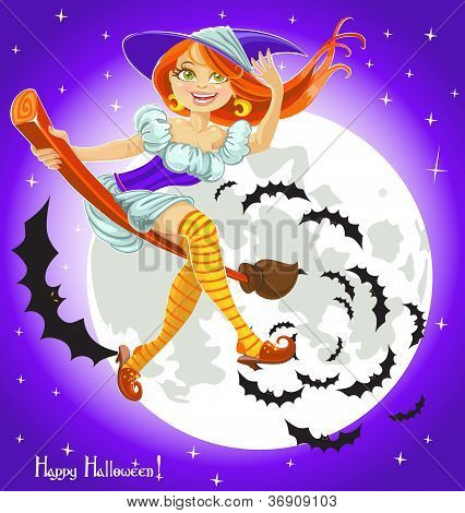 Cute Young Witch On A Broomstick In The Night Sky With His Retinue Of Bats