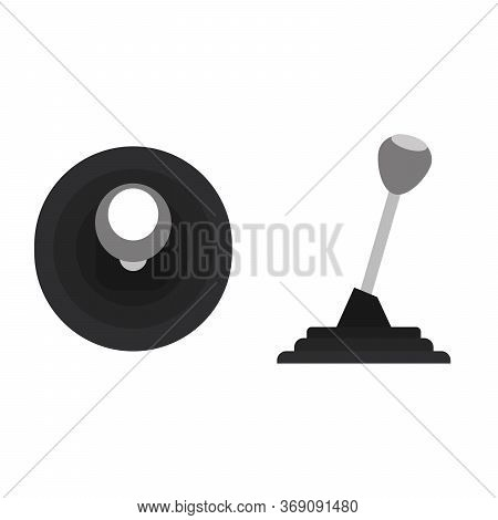 Gear Shift Vector Illustration Isolated On White. Car Gearbox Outline Style Design.