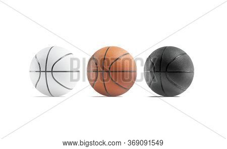 Blank Black, White And Brown Basketball Ball Mockup Set, Front View, 3d Rendering. Empty Basket-ball