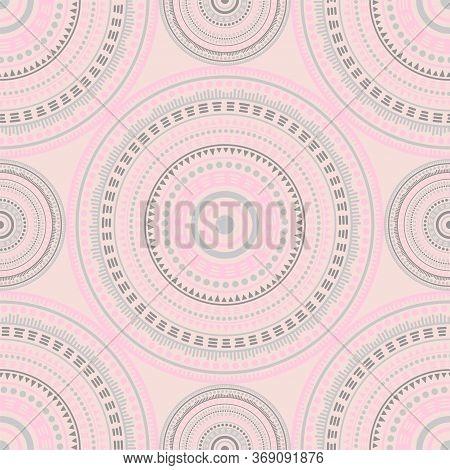 Damask Ethnic Motifs Seamless Pattern. Circle Medallion Mandala Abstract Tiles. Fabric Print Templat