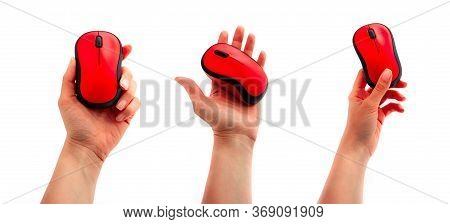 A Set Of Hands, Holding A Red Wireless Computer Mouse, Isolated On White Background.